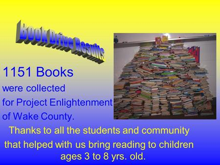 1151 Books were collected for Project Enlightenment of Wake County. Thanks to all the students and community that helped with us bring reading to children.