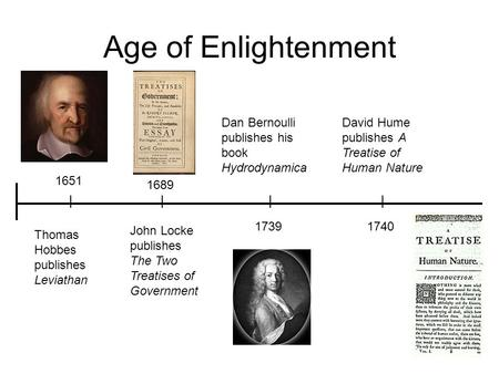 Age of Enlightenment 1689 John Locke publishes The Two Treatises of Government 1651 Thomas Hobbes publishes Leviathan David Hume publishes A Treatise of.