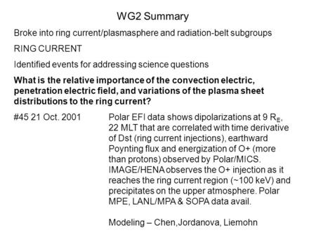 WG2 Summary Broke into ring current/plasmasphere and radiation-belt subgroups RING CURRENT Identified events for addressing science questions What is the.