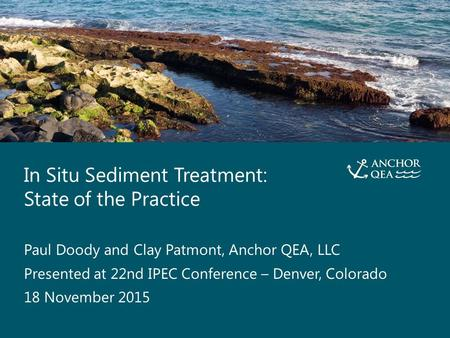 In Situ Sediment Treatment: State of the Practice Presented by Paul Doody and Clay Patmont, Anchor QEA, LLC 1 In Situ Sediment Treatment: State of the.