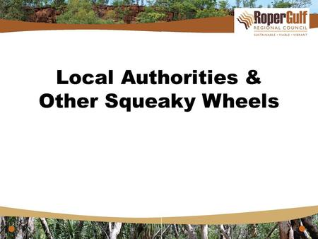 "Local Authorities & Other Squeaky Wheels. Squeaky Wheels ""The squeaky wheel does get the oil in the presence of positive supporting evidence rather than."