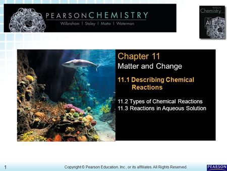11.1 Chemical Reactions > 1 Copyright © Pearson Education, Inc., or its affiliates. All Rights Reserved. Chapter 11 Matter and Change 11.1 Describing Chemical.