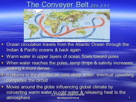 The Conveyer Belt EEn. 2.3.1  Ocean circulation travels from the Atlantic Ocean through the Indian & Pacific oceans & back again  Warm water in upper.