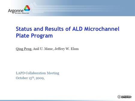 Status and Results of ALD Microchannel Plate Program