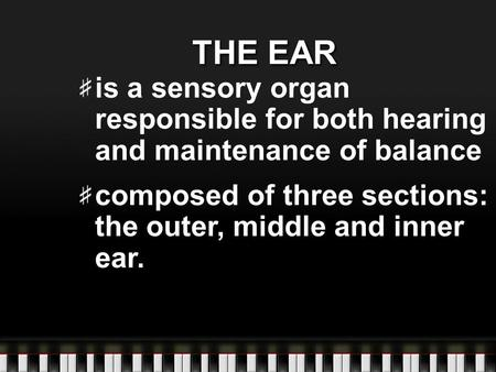 THE EAR is a sensory organ responsible for both hearing and maintenance of balance composed of three sections: the outer, middle and inner ear.