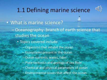 1.1 Defining marine science