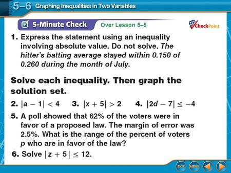 Over Lesson 5–5. Splash Screen Graphing Inequalities In Two Variables Lesson 5-6.