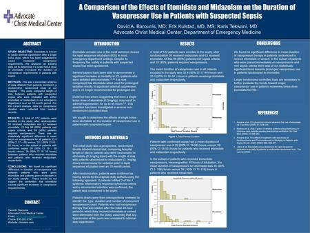 Poster Design & Printing by Genigraphics ® - 800.790.4001 A Comparison of the Effects of Etomidate and Midazolam on the Duration of Vasopressor Use in.