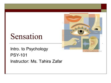 Sensation Intro. to Psychology PSY-101 Instructor: Ms. Tahira Zafar.