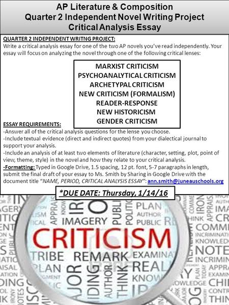 QUARTER 2 INDEPENDENT WRITNG PROJECT: Write a critical analysis essay for one of the two AP novels you've read independently. Your essay will focus on.
