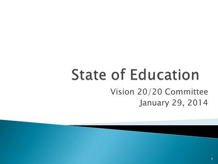 Vision 20/20 Committee January 29, 2014 1.  Introduced Annual Measurable Objectives (AMOs) to determine student, school, district and state achievement.