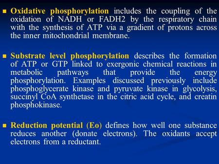Oxidative phosphorylation includes the coupling of the oxidation of NADH or FADH2 by the respiratory chain with the synthesis of ATP via a gradient of.