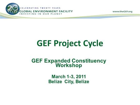 GEF Project Cycle GEF Expanded Constituency Workshop March 1-3, 2011 Belize City, Belize.