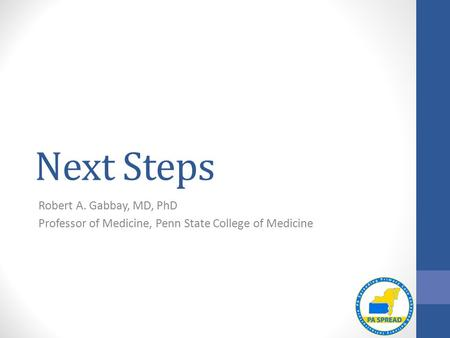 Next Steps Robert A. Gabbay, MD, PhD Professor of Medicine, Penn State College of Medicine.