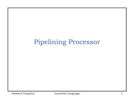 Natawut NupairojAssembly Language1 Pipelining Processor.