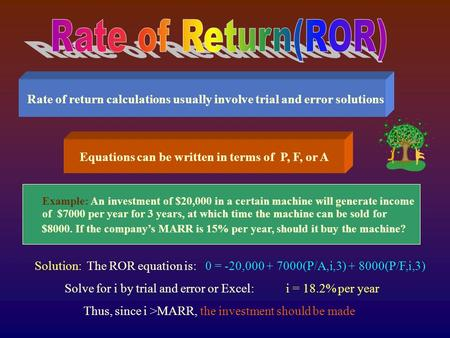 Rate of return calculations usually involve trial and error solutions Equations can be written in terms of P, F, or A Example: An investment of $20,000.