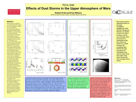 Abstract Dust storms are well known to strongly perturb the state of the lower atmosphere of Mars, yet few studies have investigated their impact on the.