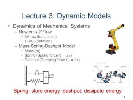 Lecture 3: Dynamic Models Spring: store energy, dashpot: dissipate energy 1.