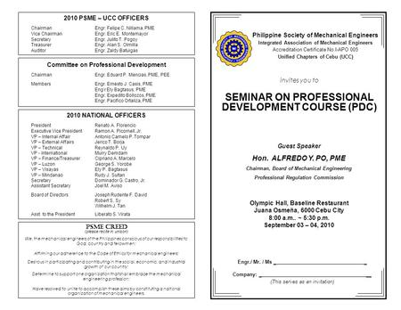Invites you to SEMINAR ON PROFESSIONAL DEVELOPMENT COURSE (PDC) Olympic Hall, Baseline Restaurant Juana Osmeña, 6000 Cebu City 8:00 a.m.. ~ 5:30 p.m. September.