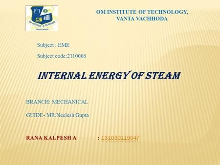 OM INSTITUTE OF TECHNOLOGY,