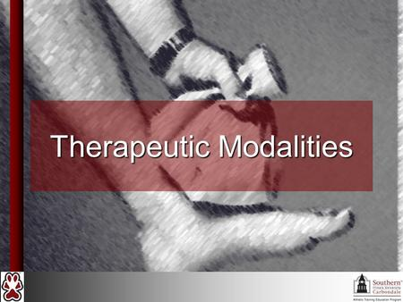 "Therapeutic Modalities. Introduction Therapeutic modalities create an optimal environment for injury repair (DO NOT ""CAUSE HEALING"") Most common types."