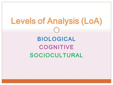 BIOLOGICAL COGNITIVE SOCIOCULTURAL Levels of Analysis (LoA)