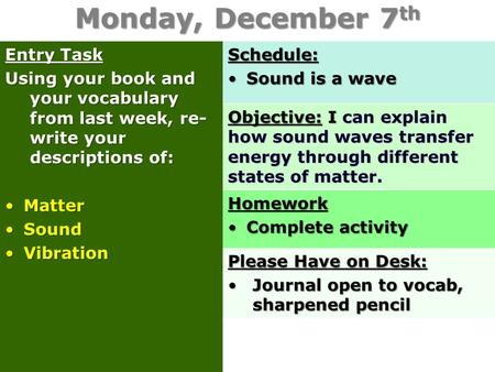 Monday, December 7 th Entry Task Using your book and your vocabulary from last week, re- write your descriptions of: MatterMatter SoundSound VibrationVibrationSchedule: