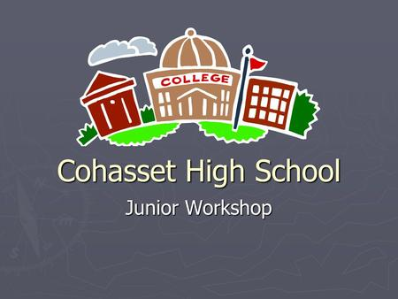 Cohasset High School Junior Workshop. Topics For Today ► Standardized Testing 101 ► Factors to Consider When Choosing A College ► College Visits ► Application.