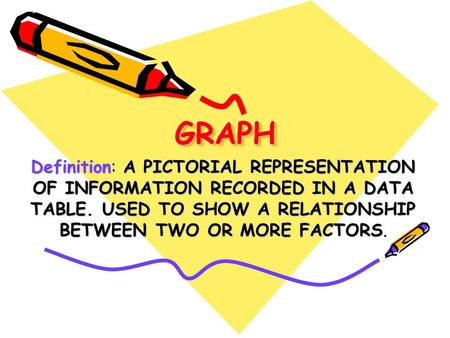 GRAPH Definition: A PICTORIAL REPRESENTATION OF INFORMATION RECORDED IN A DATA TABLE. USED TO SHOW A RELATIONSHIP BETWEEN TWO OR MORE FACTORS.