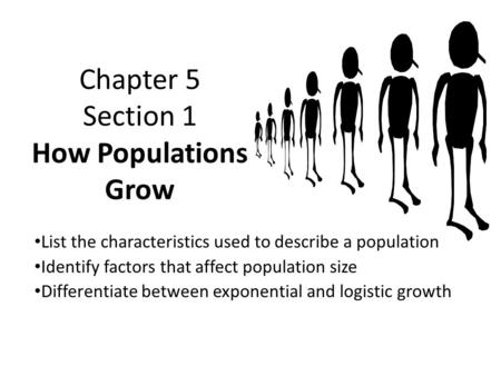 Chapter 5 Section 1 How Populations Grow List the characteristics used to describe a population Identify factors that affect population size Differentiate.