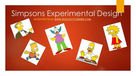 MODIFIED FROM WWW.BIOLOGYCORNER.COMWWW.BIOLOGYCORNER.COM Simpsons Experimental Design.