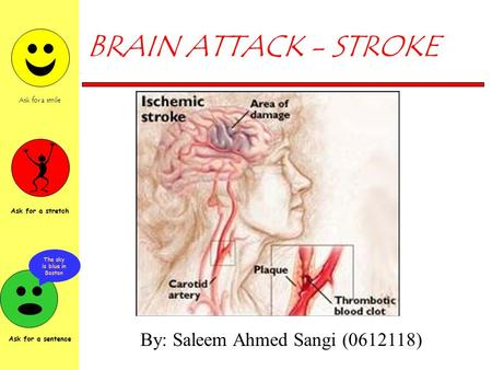Ask for a smile Ask for a stretch The sky is blue in Boston Ask for a sentence BRAIN ATTACK - STROKE By: Saleem Ahmed Sangi (0612118)