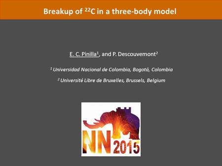 Breakup of 22 C in a three-body model E. C. Pinilla 1, and P. Descouvemont 2 1 Universidad Nacional de Colombia, Bogotá, Colombia 2 Université Libre de.