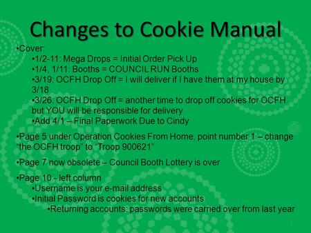 Changes to Cookie Manual Cover: 1/2-11: Mega Drops = Initial Order Pick Up 1/4, 1/11: Booths = COUNCIL RUN Booths 3/19: OCFH Drop Off = I will deliver.