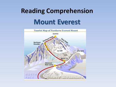 Reading Comprehension Mount Everest. At an elevation of 29,028 feet (8848 meters) above sea level, Mount Everest is the world's tallest mountain. Mount.