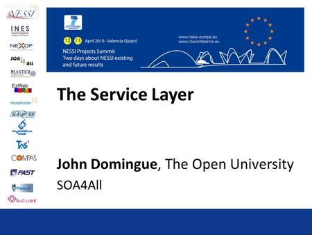 The Service Layer John Domingue, The Open University SOA4All.