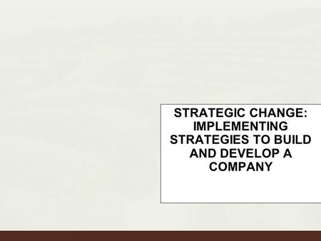 STRATEGIC CHANGE: IMPLEMENTING STRATEGIES TO BUILD AND DEVELOP A COMPANY to Build and Develop a Company.