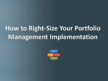 How to Right-size Your Portfolio Implementation How to Right-Size Your Portfolio Management Implementation.