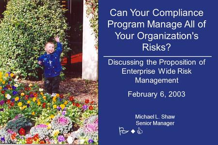 Can Your Compliance Program Manage All of Your Organization's Risks? Discussing the Proposition of Enterprise Wide Risk Management February 6, 2003 PwC.