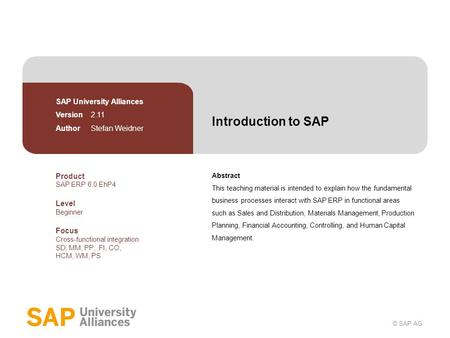 Introduction to SAP SAP University Alliances Version 2.11