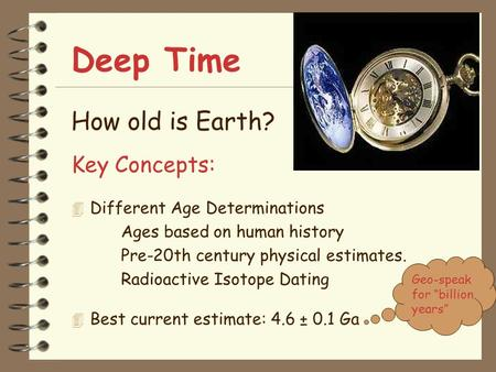 Deep Time How old is Earth? Key Concepts: 4 Different Age Determinations Ages based on human history Pre-20th century physical estimates. Radioactive Isotope.