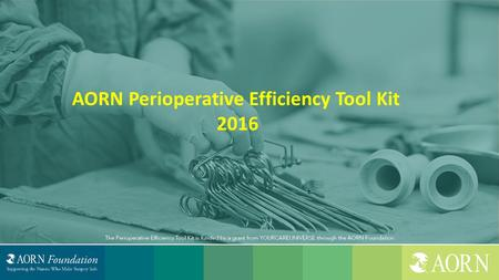 AORN Perioperative Efficiency Tool Kit 2016