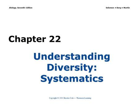 Copyright © 2005 Brooks/Cole — Thomson Learning Biology, Seventh Edition Solomon Berg Martin Chapter 22 Understanding Diversity: Systematics.
