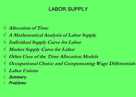 √ Allocation of Time √ A Mathematical Analysis of Labor Supply √ Individual Supply Curve for Labor √ Market Supply Curve for Labor √ Other Uses of the.