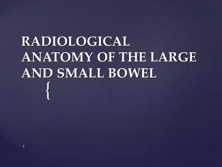 RADIOLOGICAL ANATOMY OF THE LARGE AND SMALL BOWEL