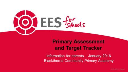 25/01/2016 | Page 1 Primary Assessment and Target Tracker Information for parents – January 2016 Blackthorns Community Primary Academy.