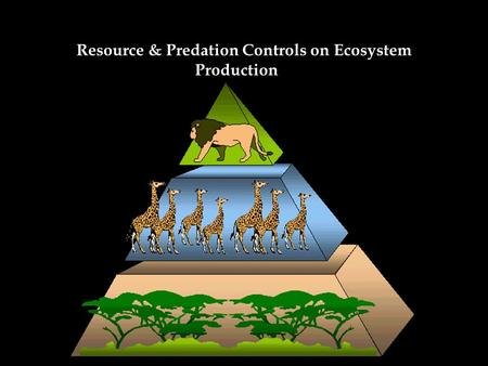 Resource & Predation Controls on Ecosystem Production Bottom-up Controls – refer to control of abundance or productivity of a species or functional group.