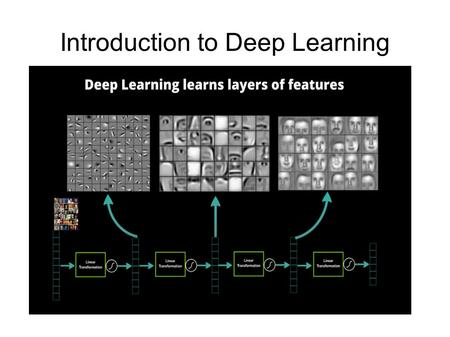 "Introduction to Deep Learning. What is DL? (1) ""...a class of machine learning techniques, developed mainly since 2006, where many layers of non-linear."