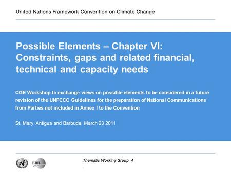 . Thematic Working Group 4 Possible Elements – Chapter VI: Constraints, gaps and related financial, technical and capacity needs CGE Workshop to exchange.