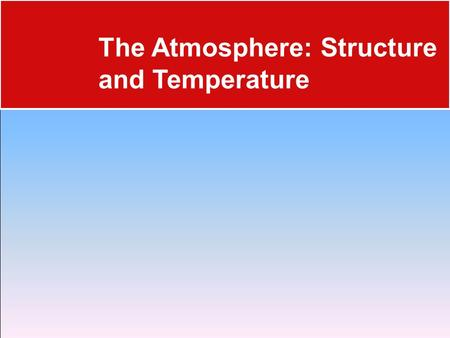 The Atmosphere: Structure and Temperature. Composition of the Atmosphere 17.1 Atmosphere Characteristics  Weather is constantly changing, and it refers.